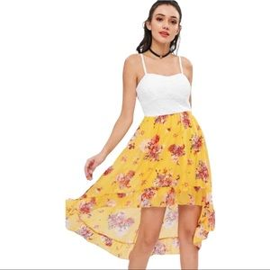 Floral Padded High Low Cocktail Summer Dress